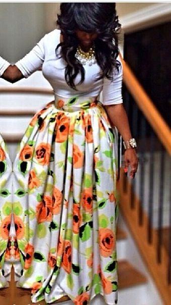 Kitenge African Print PinkBlue Long Maxi Skirt with Matching Sash