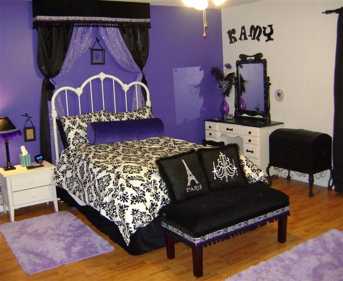 Cool And Feminine Teen Girls Room Ideas : French Style Purple Black And  White Teen Girls Room Design With Black And White Dressing Table And Crown  Shape ...