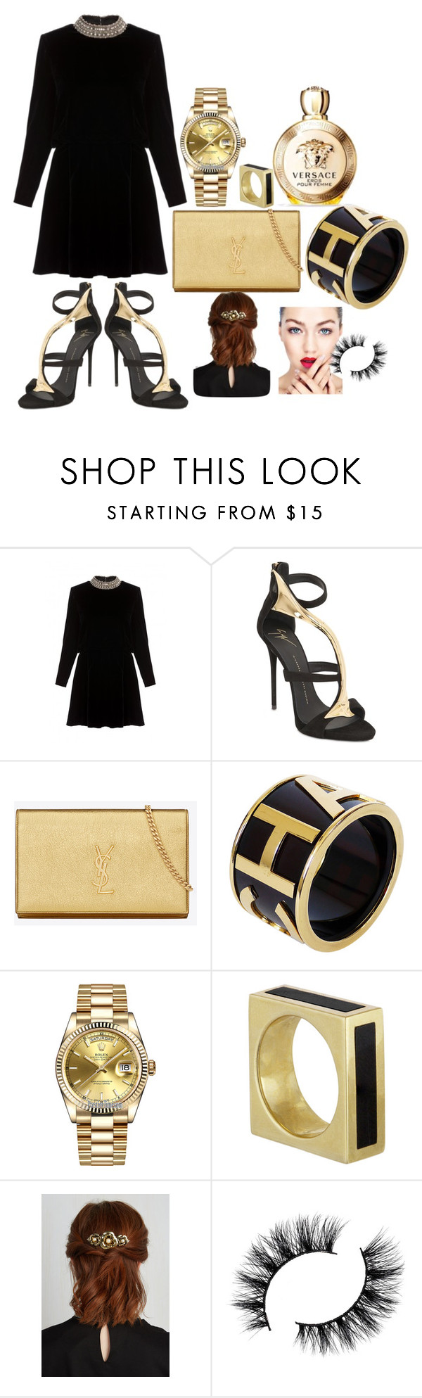 """Untitled #110"" by nabilaseshaa ❤ liked on Polyvore featuring Yves Saint Laurent, Giuseppe Zanotti, Chanel, Rolex and Versace"