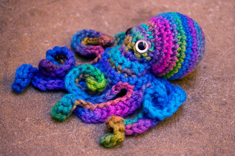 crochet octopus friend - mini giant soft merino blue aqua purple ...