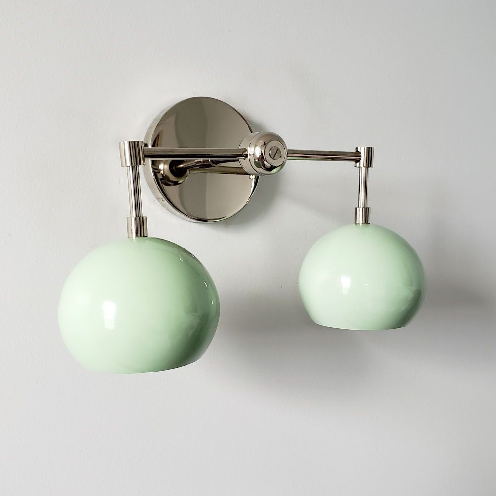 Chrome And Mint Two Light Midcentury Modern Wall Sconce With Eyeball Shades Perfect F Midcentury Wall Lighting Modern Bathroom Lighting Modern Interior Decor