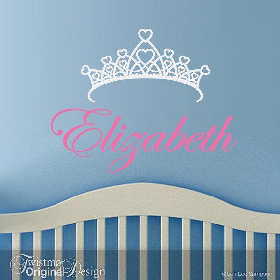 Custom Personalised Princess Name Wall Stickers Vinyl Decals Nursery Kids Decor