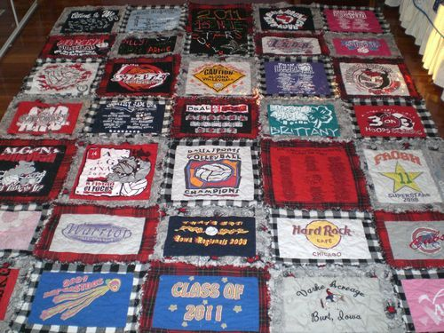 t-shirt quilt. I like how they are appliqued onto flannel shirts ... : tee shirt quilt instructions - Adamdwight.com