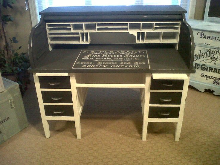 Ava Blake Creations: Vintage Roll Top Desk Transformed, Tuxedo Style