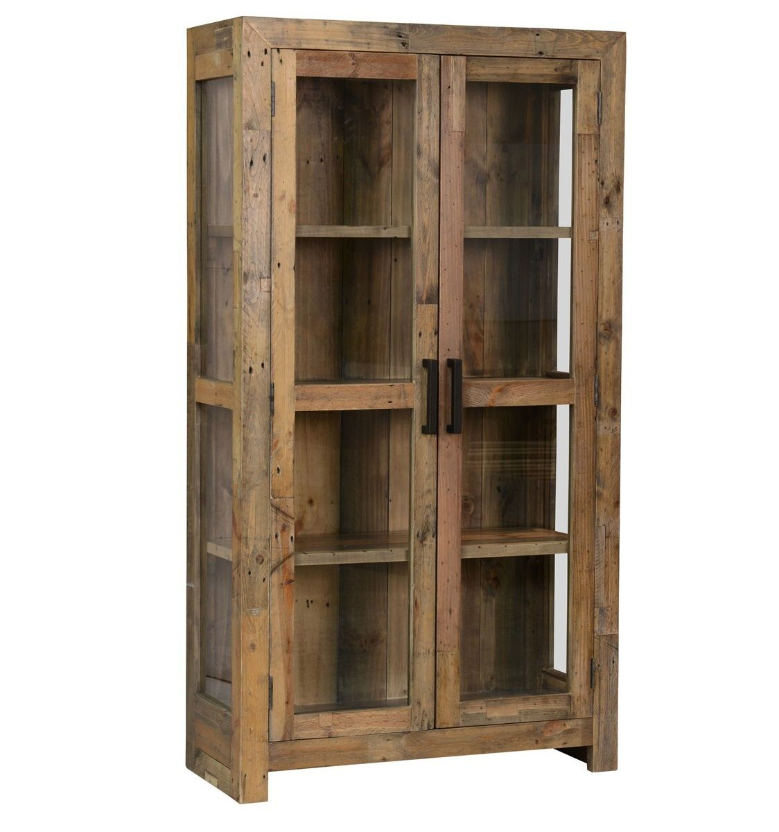 Angora natural reclaimed wood curio cabinet glass doors doors and angora natural reclaimed wood curio cabinet with glass doors zin home planetlyrics Choice Image