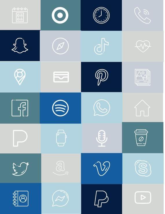 App Icons BoHo Blue Themed Minimalist Aesthetic iO