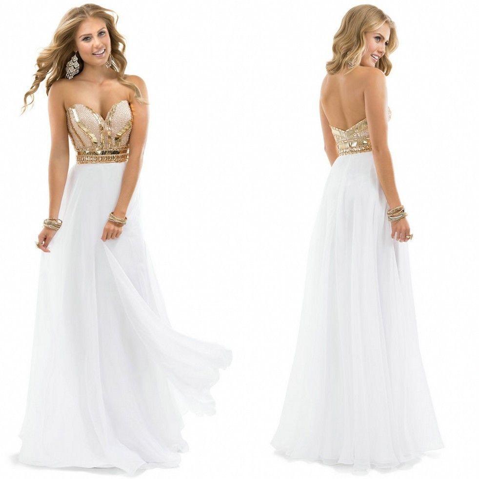 Tidetell aline chiffon sweetheart long prom dresses gold