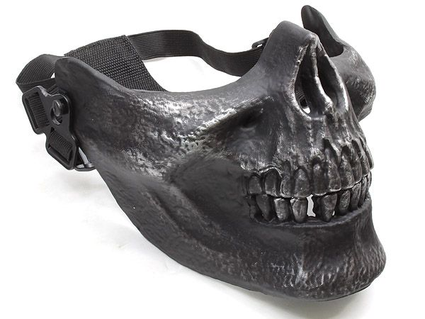 Cool Cacique Skull Airsoft Half Face Mask (Silver black ...