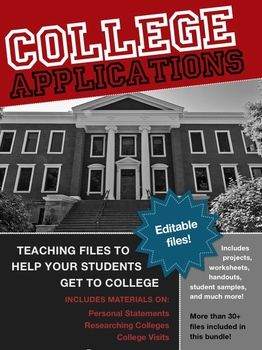 Teaching the College Application Worksheets, Projects