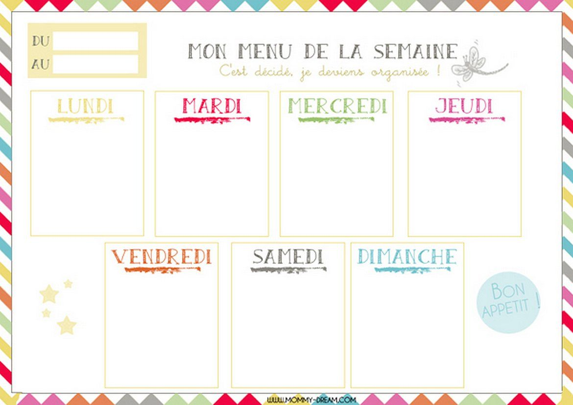 menu de la semaine vierge planning hebdo de repas semainier imprimer organisation pinterest. Black Bedroom Furniture Sets. Home Design Ideas