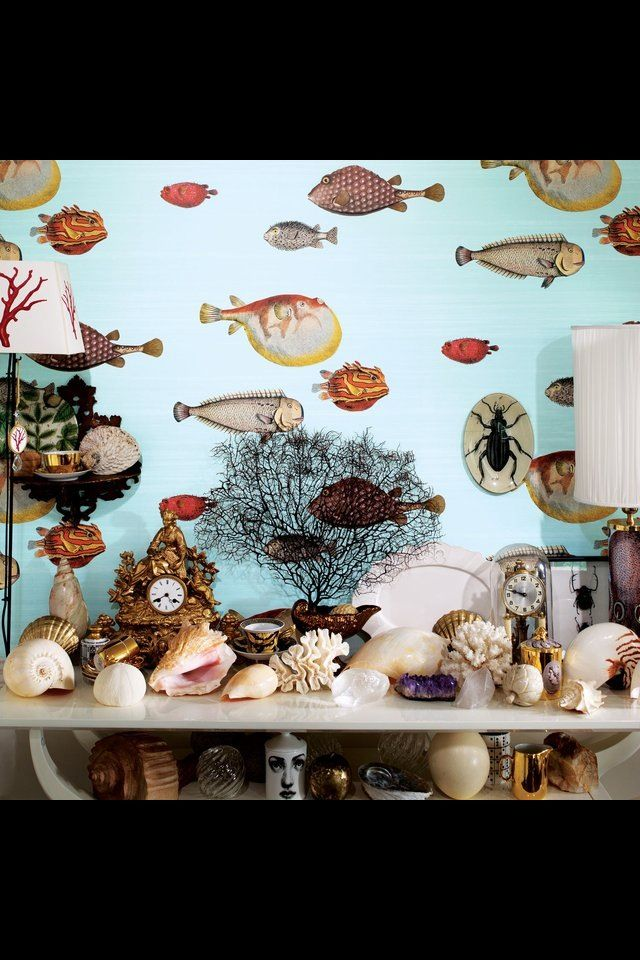 ACQUARIOs Clownish Fish Wallpaper An Early Fornasetti Theme Whimsical And Naive Appearance Cole Son II Through Lee Jofa