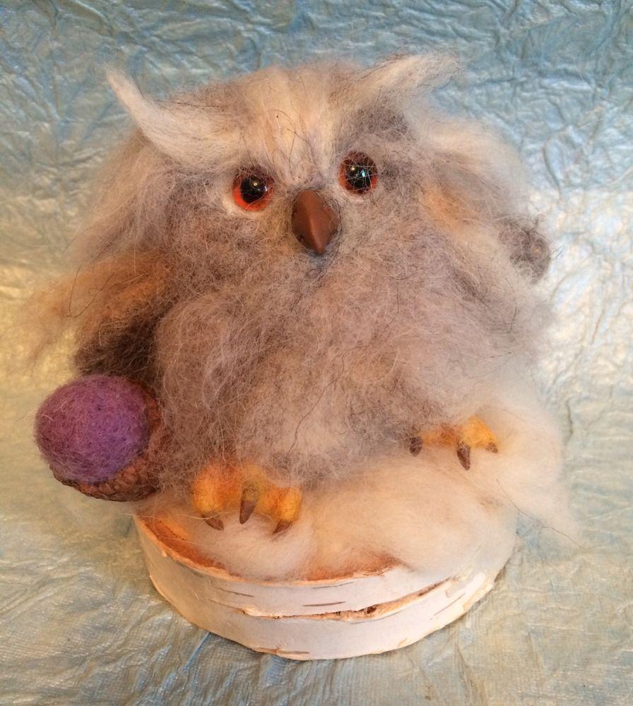 Lubastudio NEEDLE FELTED OWL OWLET ACORN NEW #AllOccasion