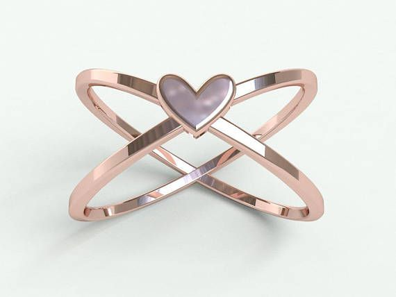 Heart ring promise ring 1st anniversary ring great gift rose gold