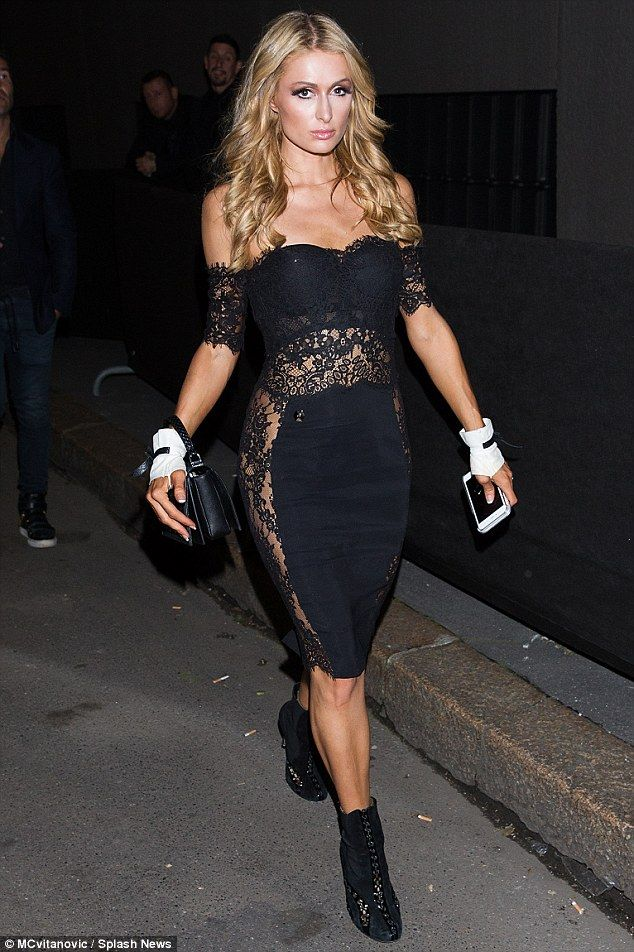Paris Hilton Puts On Racy Display In Sheer Black Lace Dress In