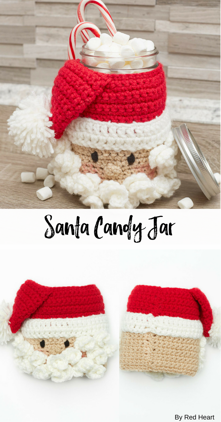 Santa Candy Jar free crochet pattern in Super Saver. | crochet ...