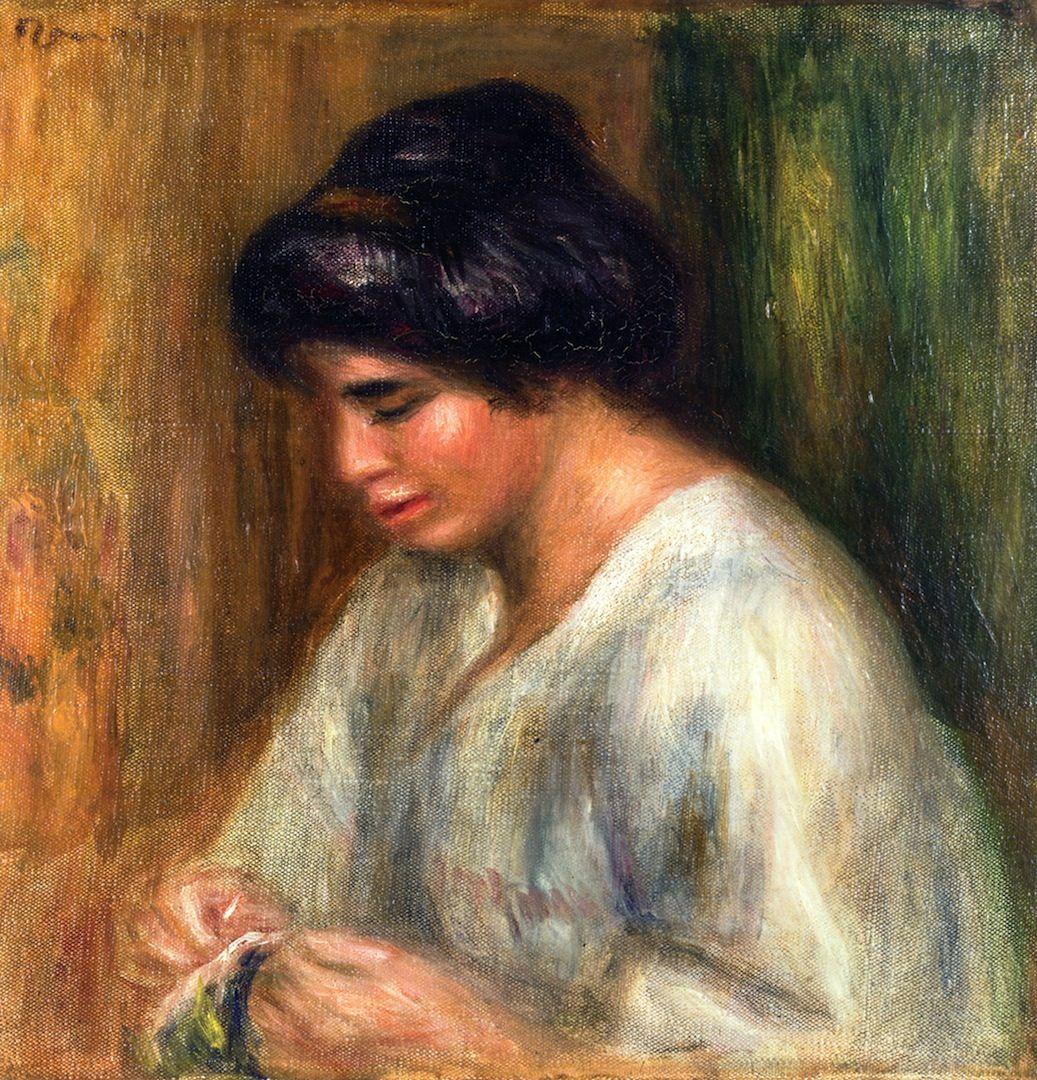 Woman Sewing -  Pierre Auguste Renoir - Date unknown
