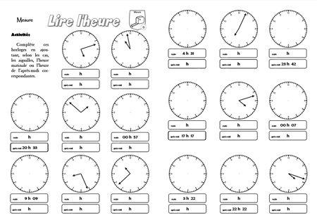 Fiches-mémoire sur la lecture de l'heure (à la minute près) ainsi que sur les périmètres e ...