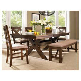 Sawhorse Style Dining Table With A Bench And Four X Backed Side Chairs Side Chairs And Bench Feature Tan Fa Dining Room Sets Dining Table Wooden Dining Tables