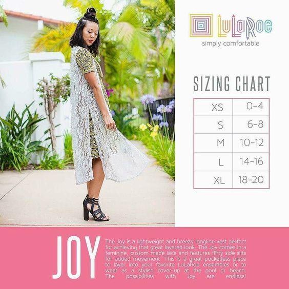 Joy Vest Sizing Chart LuLaRoe Size Charts Pinterest Chart