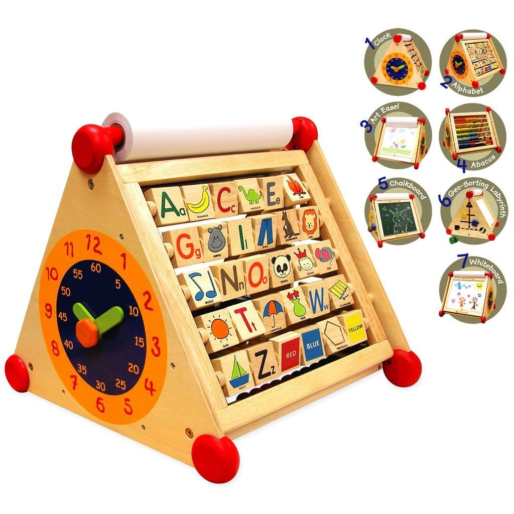 7 products in 1 toy : a clock, an abacus, a geometric sorting ...