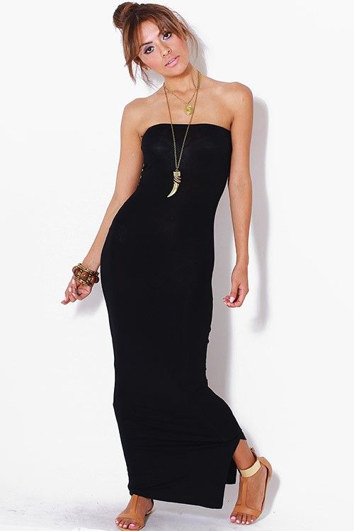 Tube Dress - Maxi Length - Stretch Fabric - Body-con Fit - Elastic ...