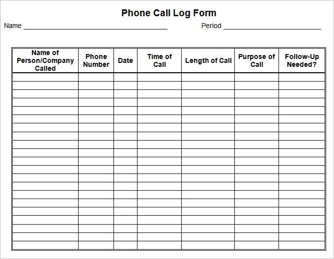 Phone Call Log Template - 40+ Printable Call Log Templates in - sign up sheet template excel