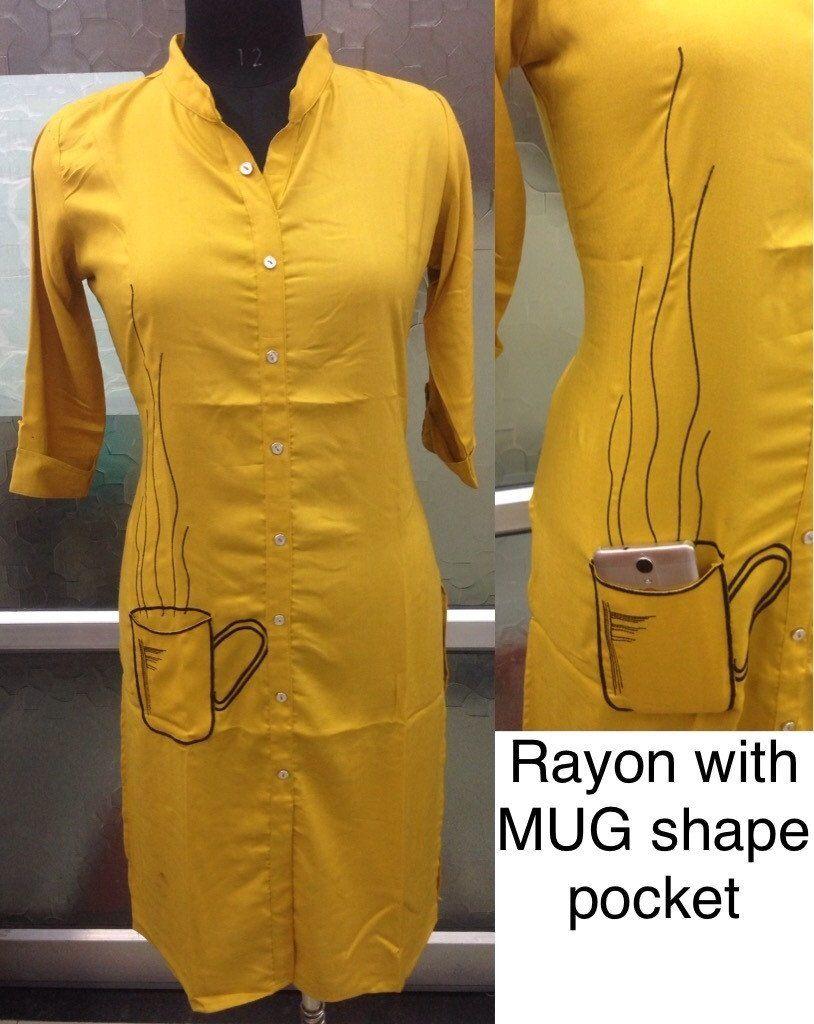 Rayon with Mug shape Pocket Kurti - Stiched