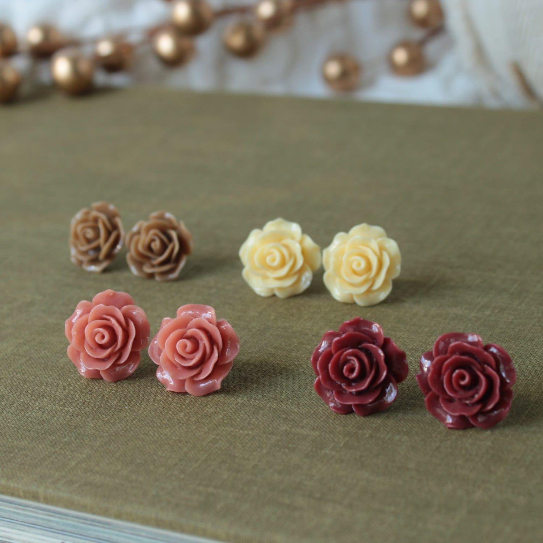 Autumn Earrings Big Stud Earrings Rose Earrings 60th | Etsy