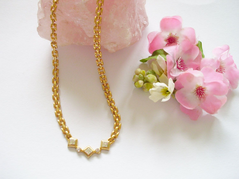 Halskette Vintage Schmuck feine Halskette Collier zarte Halskette feine Gliederkette klassische Halskette Minimalist Halskette Geschenk by MoniceBoutique on Etsy