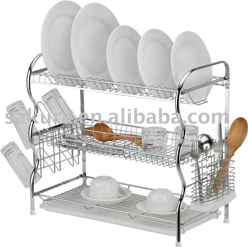 3 Tier 22inch Chrome Wire Dish Rack Plate Drying Rack W Plastic