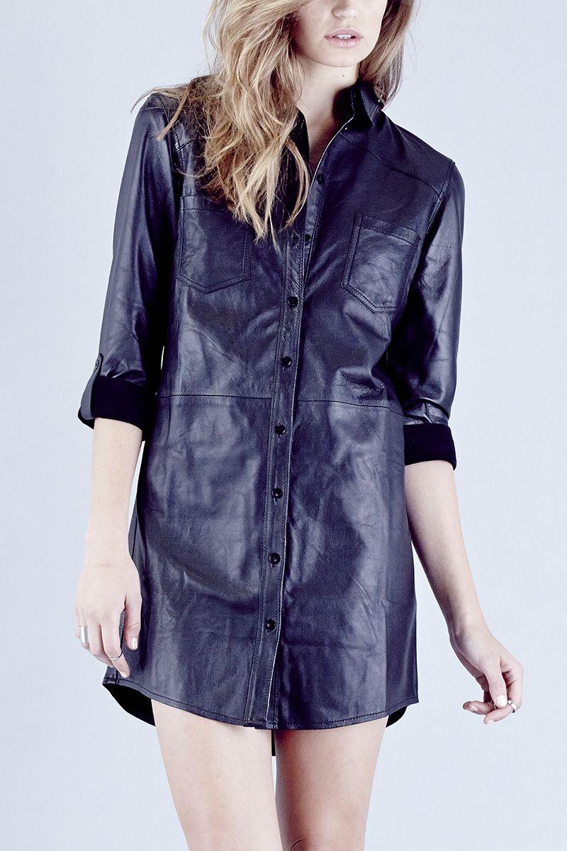 Trinity Shirt Dress-Black Leather | BLACK LEATHER | steele melbourne