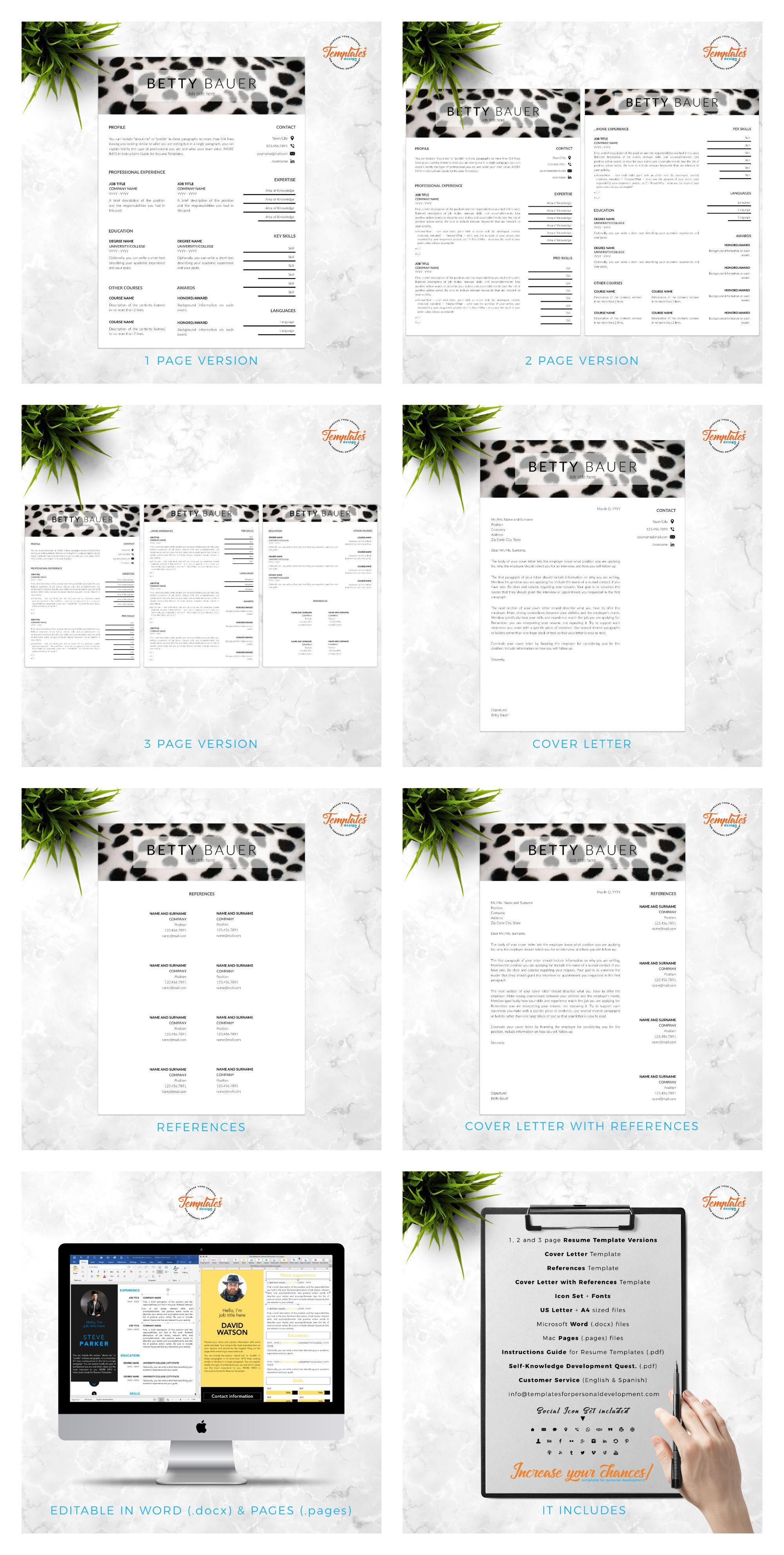Pet Care Resume Animal Care Cv Template For Word Pages Cv For Animal Care Workers Pet Sitters Or Animal Caretakers Instant Download Resume Template Reference Letter Clean Resume