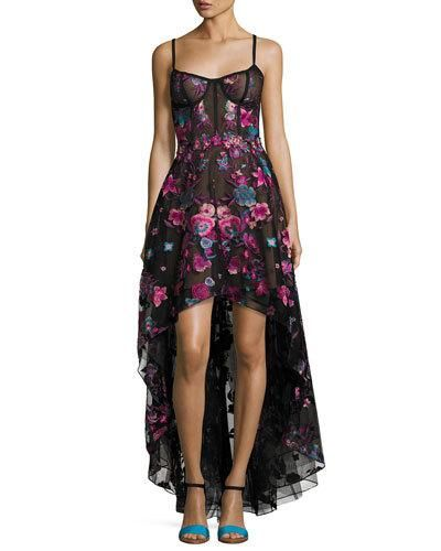6f8b7bb73c7fe0 TVP5P Marchesa Notte Sleeveless Embroidered Tulle High-Low Gown ...