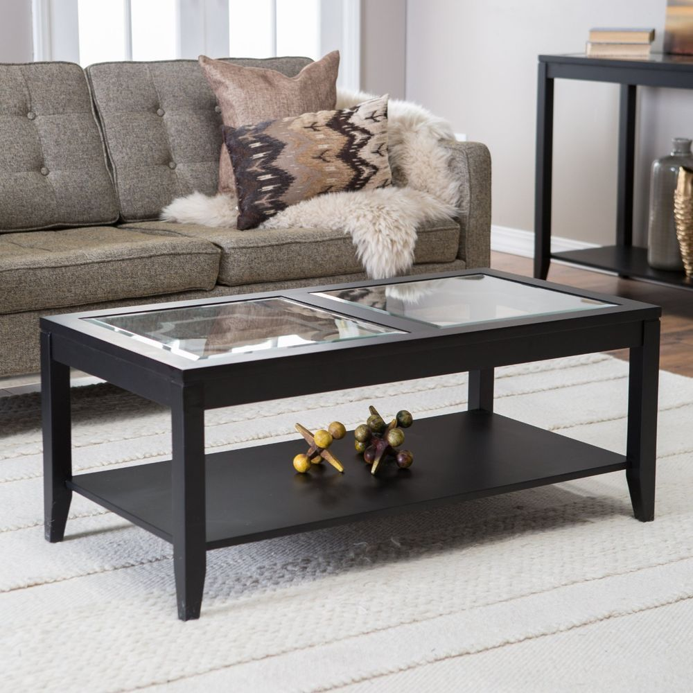 Glass Top Coffee Table Black Wood Living Room Rectangle Storage