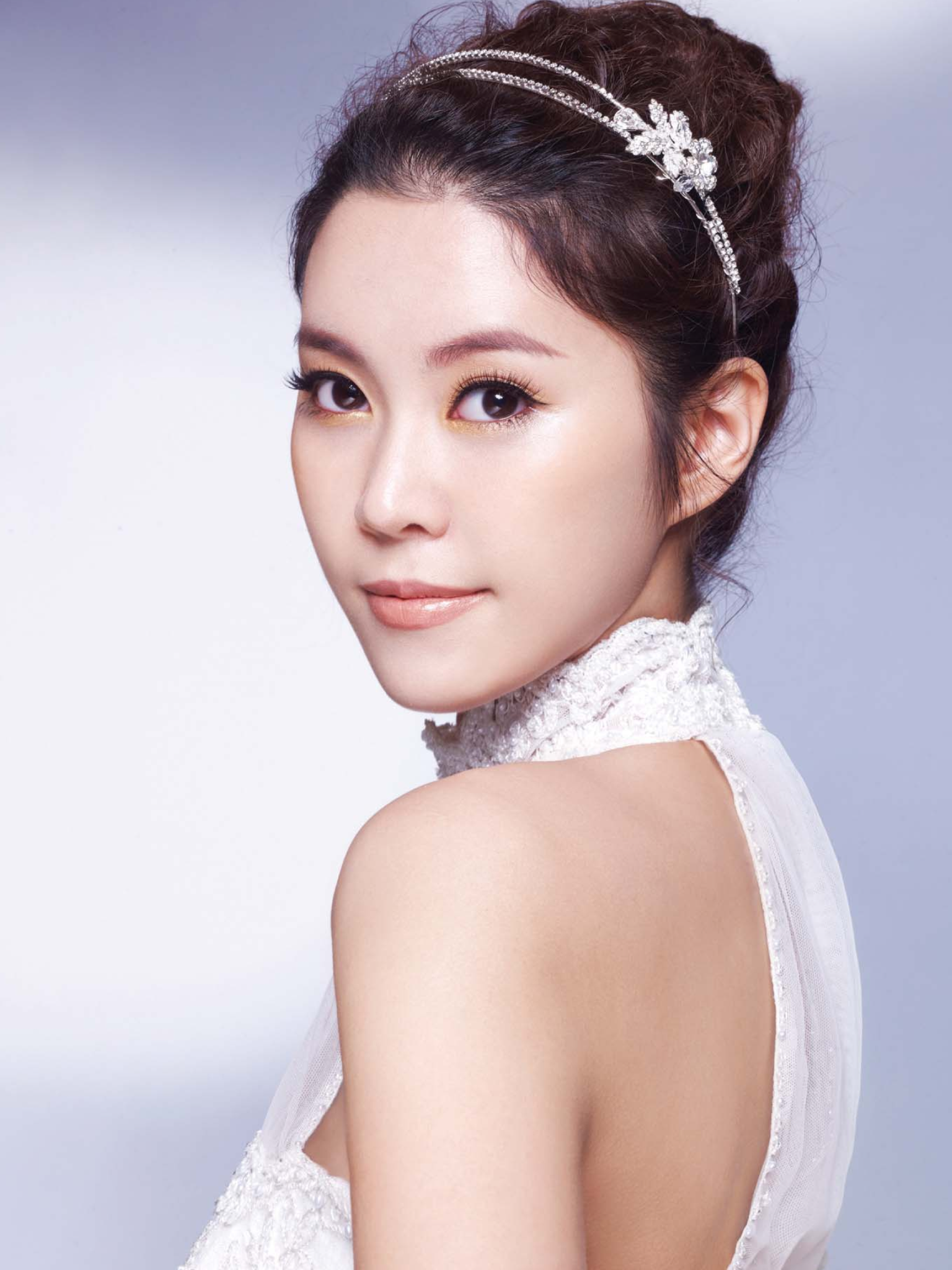 curly wave up-do hair styling with hair band / korean concept