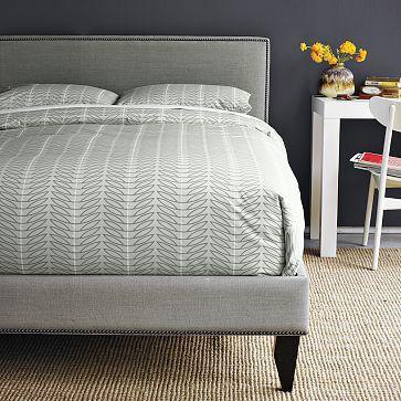 Narrow Leg Nailhead Upholstered Bed Frame Twin Marled Microfiber Heather Gray Upholstered