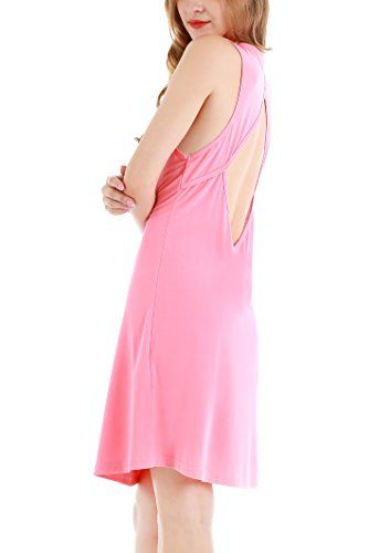95b0e63bbaf Night Gown · Yulee Womens Sexy Sleeveless Nightgown Backless Sleepshirt  Sleepwear L Pink   For more information