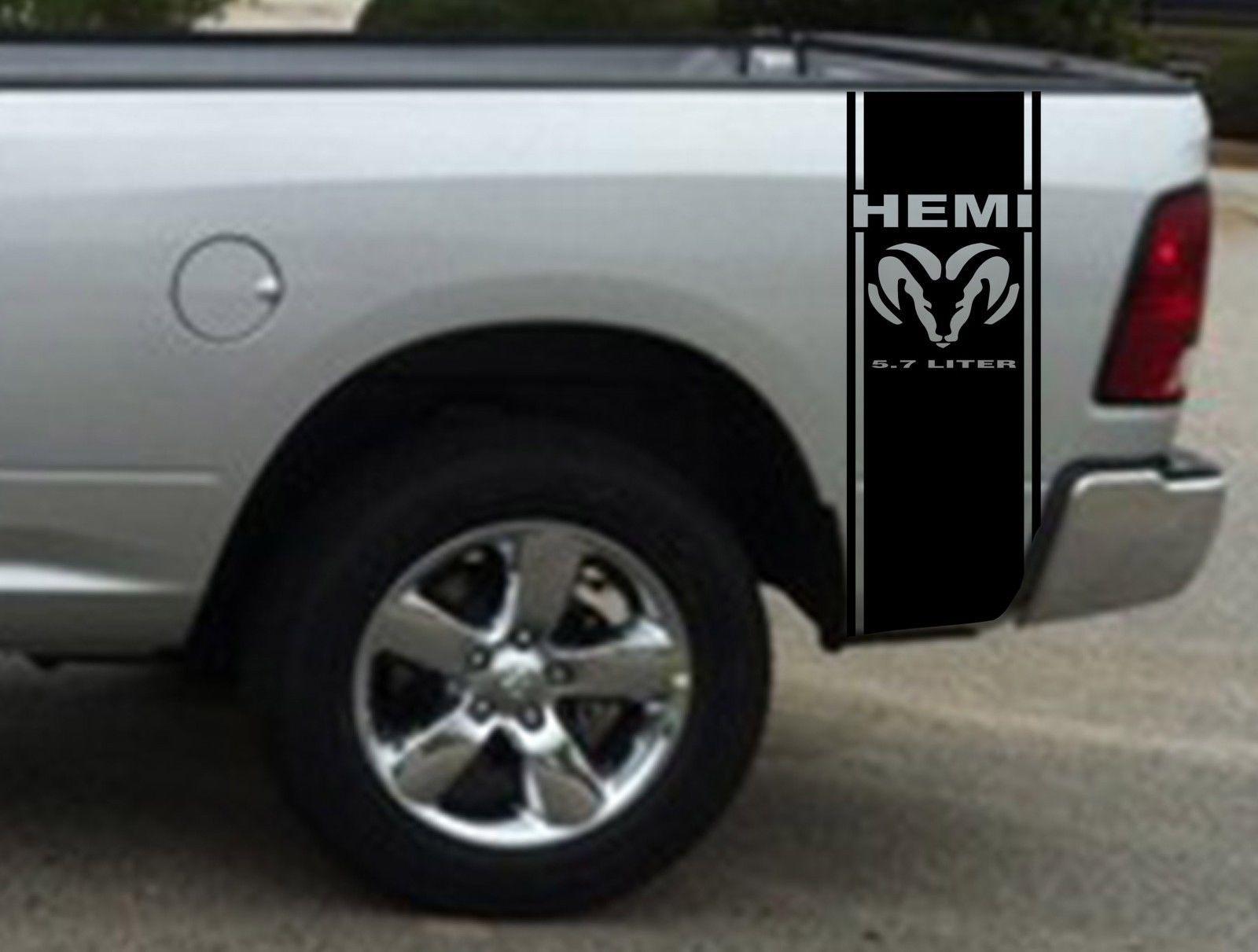 2 hemi 5 7 liter ram stripe dodge ram truck vinyl decal sticker1
