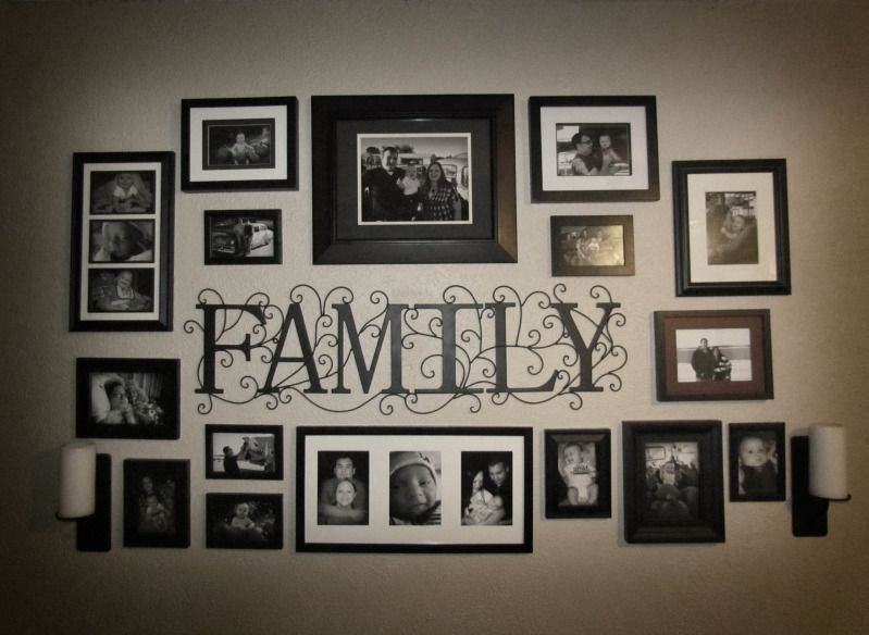 Photo collage idea for the wall we can cut the family for Hanging frames on walls