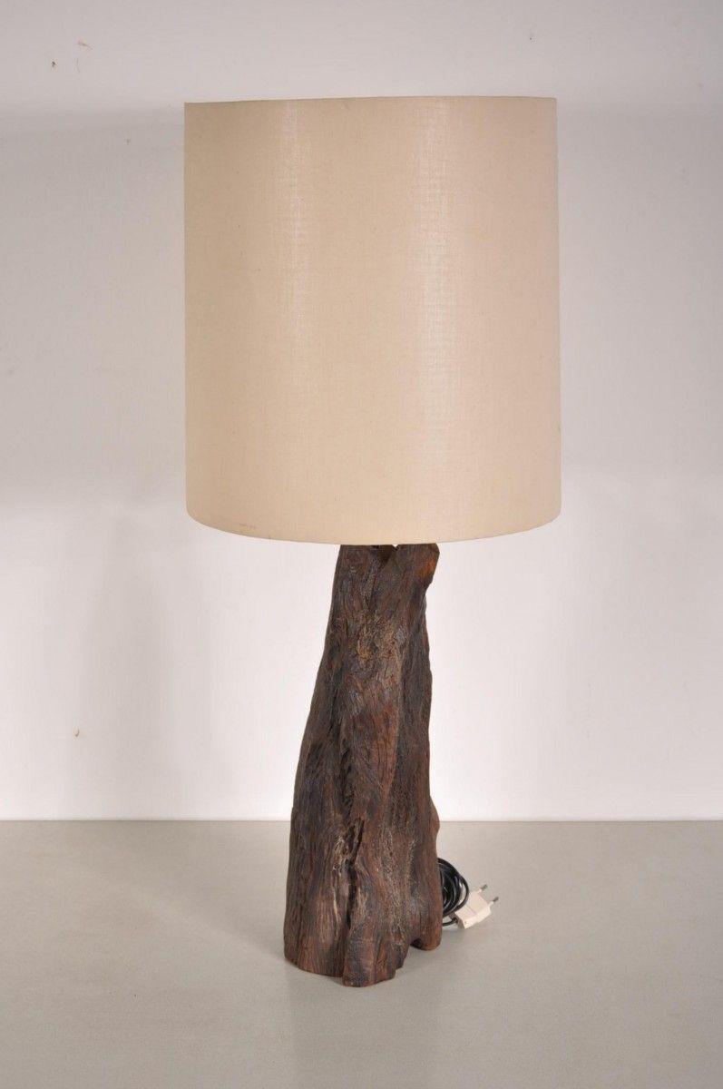 Vintage Tree Trunk Table Lamp Wooden Base Boi