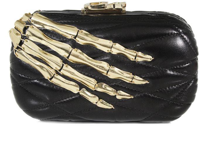 Corto Moltedo Clutch Black Leather - a designer Halloween bag? Gold bone skeleton hand bag