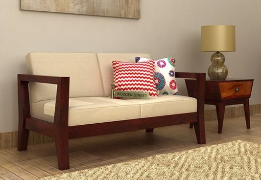 The Hugo 2 Seater Wooden Sofa In Mahogany Finish Is A Simple Sofa