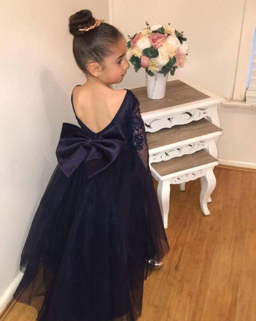 Flower girl dress princess navy blue long sleeves flower