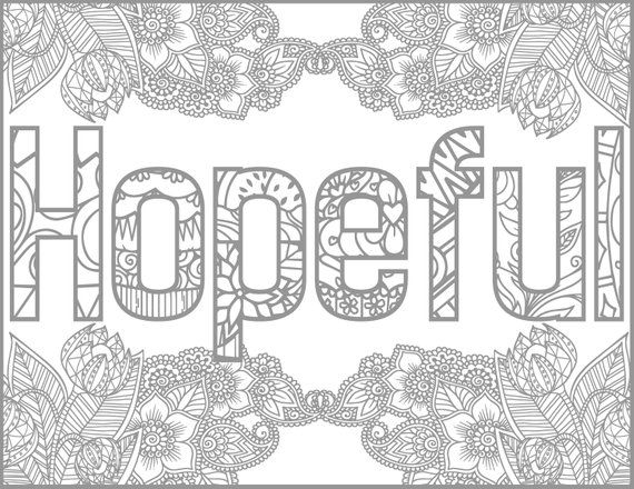 Hopeful Positive Word Coloring Book Printable Coloring Book For