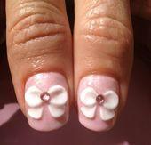 Photo of white 3D bows by azusa  Nail Art Gallery nailartgallery.na by Nails Magaz