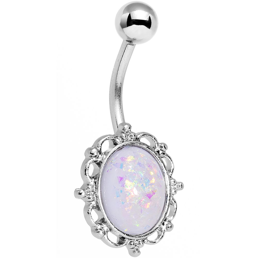 Gold belly piercing jewellery  White Faux Opal Who Could Be So Fair Frame Belly Ring  Belly Button