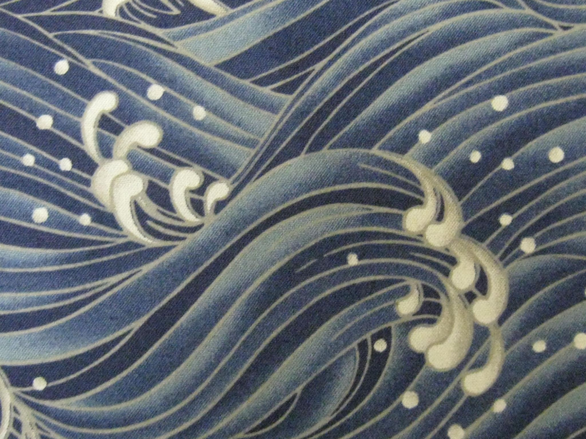 Japanese Cotton Kimono Fabric - Traditional Crashing Waves ...