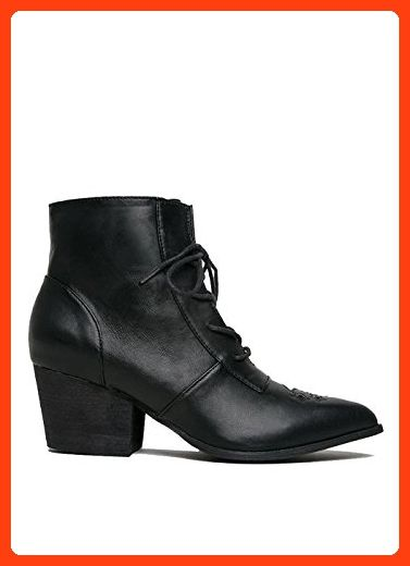 Womens Witchy Stars and Moon Goth AURA Black Laced Ankle Boot Size 6  ( Partner dc41af4fa1
