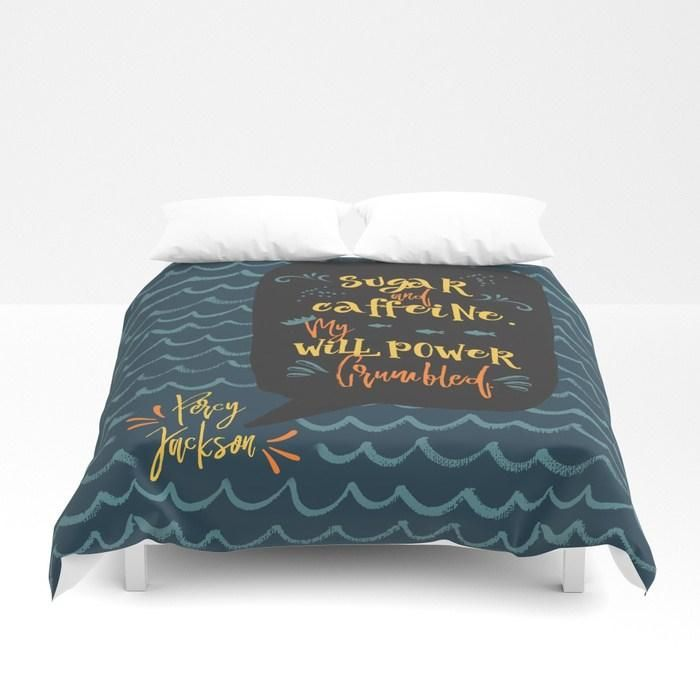 Sugar and caffeine... Percy Jackson Quote Duvet Cover images