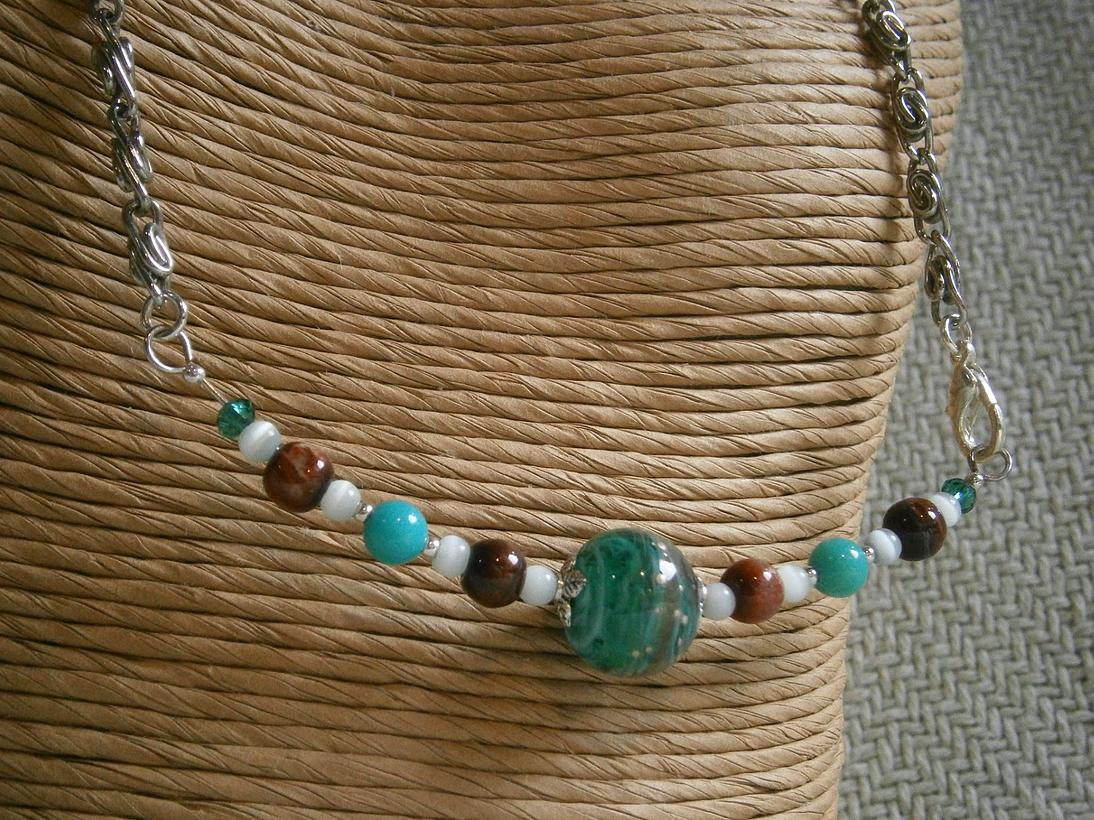 Swirling hues in teal Doodlebert Designs   Necklaces